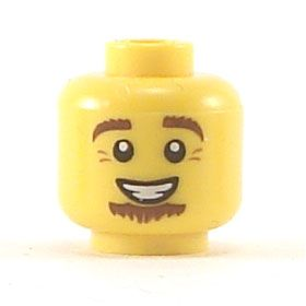 LEGO Head, Brown Eyebrows, Wide Brown Soul Patch