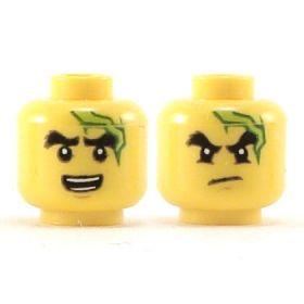 LEGO Head, Bushy Black Eyebrows, Green Mark on Forehead