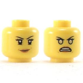 LEGO Head, Female, Black Eyebrows, Eyelashes, Dark Orange Lips