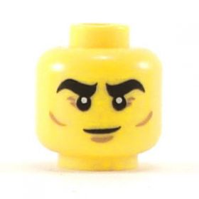 LEGO Head, Thick Black Eyebrows, Smile