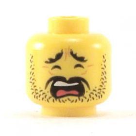 LEGO Head, Black Moustache and Stubble, Scared or Sad