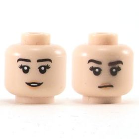 LEGO Head, Female, Dark Brown Eyebrows, Peach Lips, Neutral Expression / Small Smile