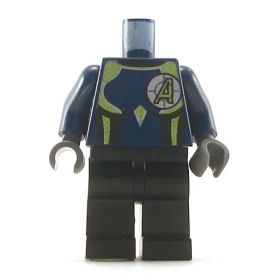 LEGO Dark Blue Shirt with Lime Highlights, Black Pants, Letter A
