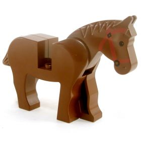 LEGO Riding Horse, Brown v1, Red Harness