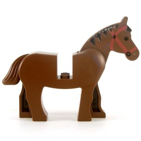 LEGO Riding Horse, Brown v1, with Black Mane and Red Harness