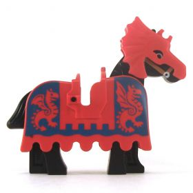 LEGO Warhorse, Red Barding with Blue Dragons