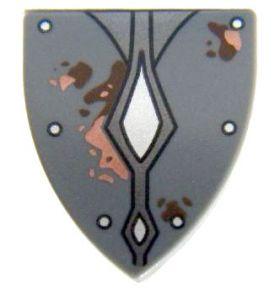 LEGO Shield, Triangular with Silver Studs 2 Diamonds, Mud/Rust Spots