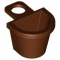 LEGO Minifig Container - D-Shaped Basket, Reddish Brown
